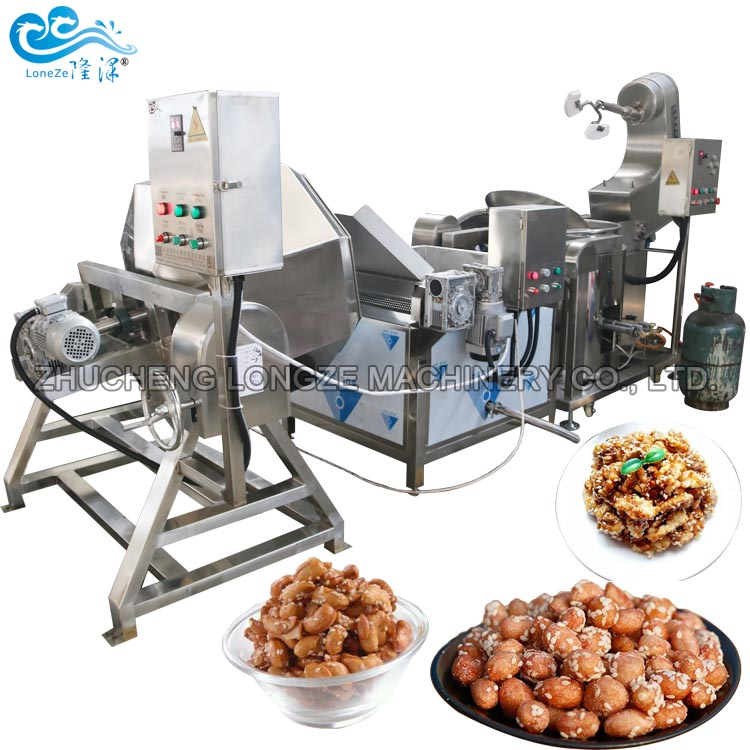 Industrial Honey Coated Peanut Cashew Nuts Walnuts Almond Making Roasting Frying Processing Machine